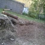 Bau eines Sitzplatzes.